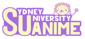 The letters SU followed by the word Anime such that the S is also shared by the word Sydney and the U the word University. A cute lion is peeking over the top of the letters..