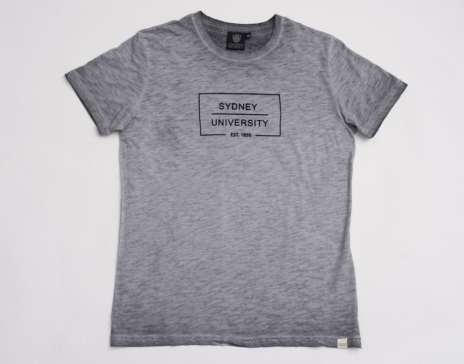 Flocked Box Print Tee - Grey Marle