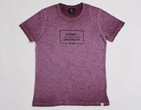 Ladies Flocked Box Print Tee* Burgundy
