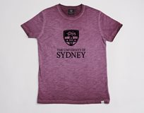 Ladies Flocked Crest Tee* Burgundy Marle