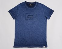 Ladies Flocked Box Print Tee* Navy Marle