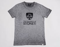 Ladies Flocked Crest Tee* Grey Marle