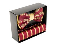 Silk Lion Bow Tie - Burgundy